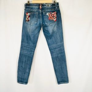 Miss me Skinny jeans Size 28 Ankle embroidered